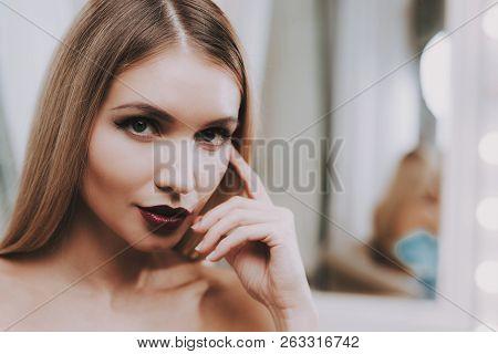 Professional Makeup. Woman With Professional Makeup. Makeup In Beauty Salon. Beautiful Woman. Blond