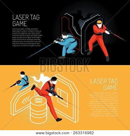 Laser Tag Multiplayer Team Game 2 Isometric Horizontal Colorful Background Banners With Players In A