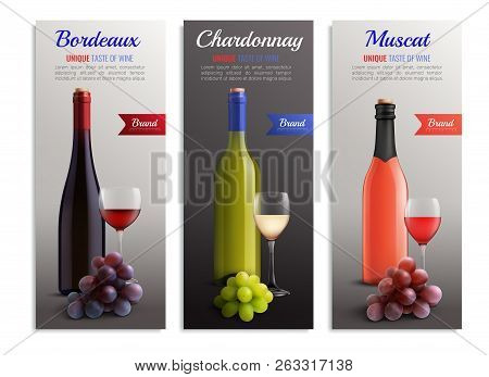 Wine Realistic Vertical Banners With Presentation Of Unique Taste Bordeaux Chardonnay Muscat Variety