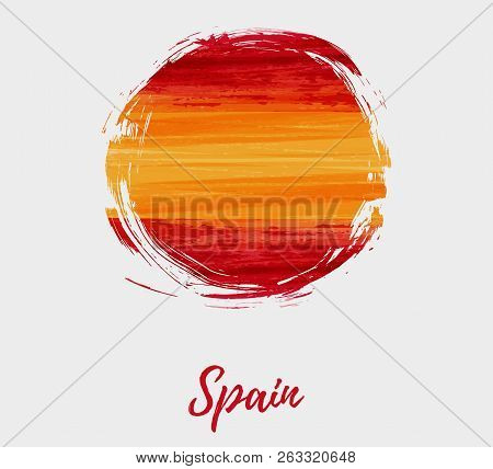 Spain National Day Background. Abstract Brushed Watercolor Flag Of Spain. Holiday Template Backgroun
