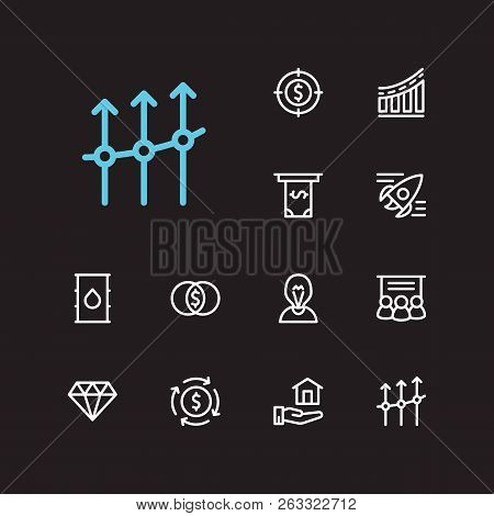 Capital Icons Set. Investment Target And Capital Icons With Jewelry, Inventor And Money Flow. Set Of