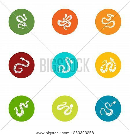 Creeping Muck Icons Set. Flat Set Of 9 Creeping Muck Vector Icons For Web Isolated On White Backgrou