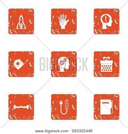 Future Strategy Icons Set. Grunge Set Of 9 Future Strategy Vector Icons For Web Isolated On White Ba