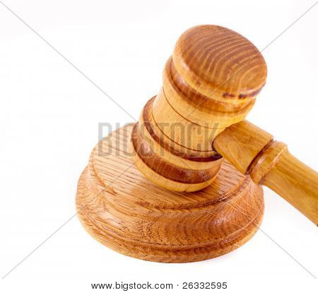 Judges wooden gavel isolated over white background