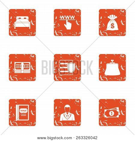Fortune Cash Icons Set. Grunge Set Of 9 Fortune Cash Vector Icons For Web Isolated On White Backgrou