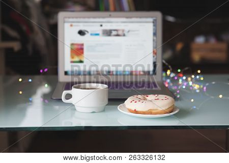 Morning At Home. Morning Ritual. Morning Cup Of Coffee In Front Of Laptop.