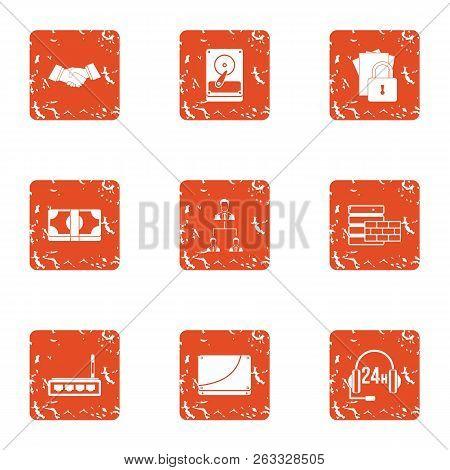 Data Finance Icons Set. Grunge Set Of 9 Data Finance Vector Icons For Web Isolated On White Backgrou