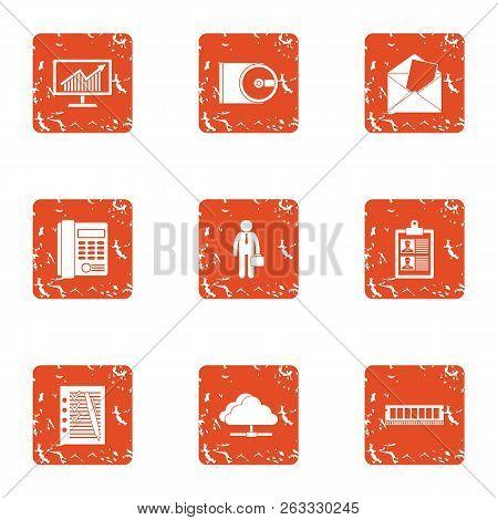 Entrepreneurial Activity Icons Set. Grunge Set Of 9 Entrepreneurial Activity Vector Icons For Web Is