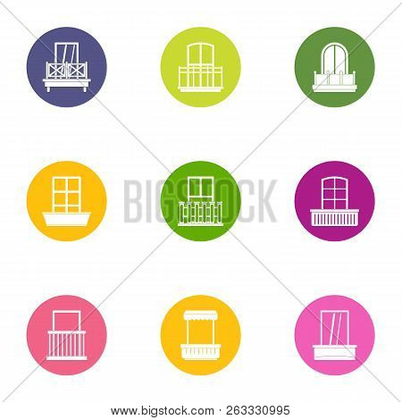 Sliding Glass Door Icons Set. Flat Set Of 9 Sliding Glass Door Vector Icons For Web Isolated On Whit