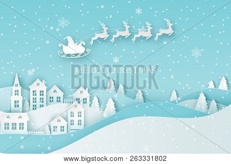 Winter Urban Countryside Landscape Village With Cute Paper Houses, Pine Trees And Santa With Deers F