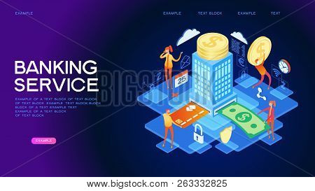 People Using Computer For Online Banking And Accounting. Mobile Banking. Web Concept For Online Bank