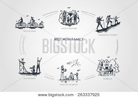 Rest With Family - Walk In Park, Bicycle Walk, Playground, Barbecue, Pedestrian Tourism, Rest On Bea