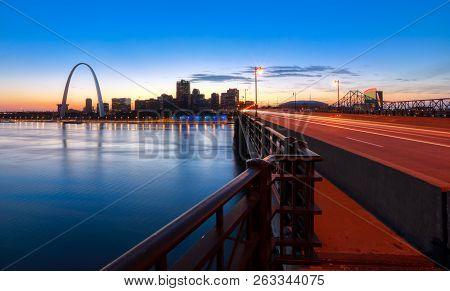 St. Louis, Missouri - October 8, 2018 - The St. Louis, Missouri Skyline And Gateway Arch At Dusk.