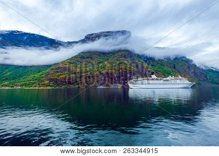 Cruise Ship, Cruise Liners On Hardanger fjorden, Beautiful Nature Norway