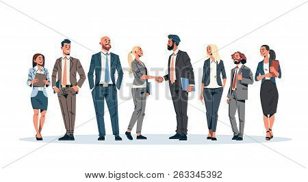 Business People Group Hand Shake Agreement Communicating Concept Businessmen Women Team Leader Meeti