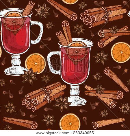 Seamless Pattern With Glass Of Mulled Wine And Spices Cinnamon, Cloves, Badyan, Orange.