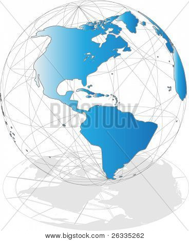 Blue globe on white with shadow - center on America - (there is also same illustration in my portfolio but with center on Europe)