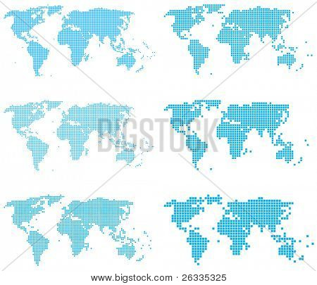 Set of dotted (6 sizes, square dots) world maps poster