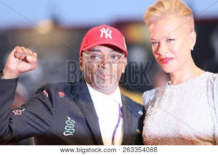 Spike Lee and Tonya Lewis Lee attend the red carpet ahead of the 'A Star Is Born' screening during the 75th Venice Film Festival on August 31, 2018 in Venice, Italy.