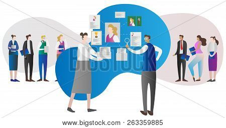 Corporate Company Human Resource Research Work Concept With Employer Looking At Person Cv And Person