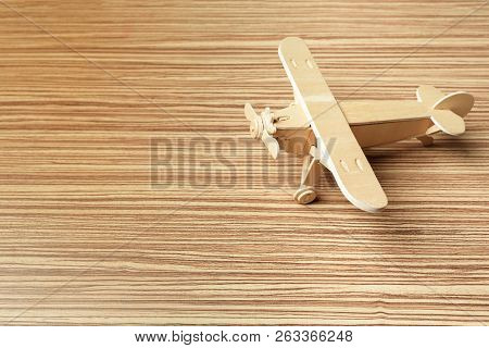Toy Airplane On The Table. Object. Macro Photography. Close Up