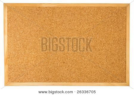 Empty cork board (corkboard) isolated on white background