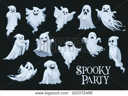 Ghosts Of Halloween Holiday With Emotional Faces. Monsters Or Beasts, Human Spirit And Poltergeist O