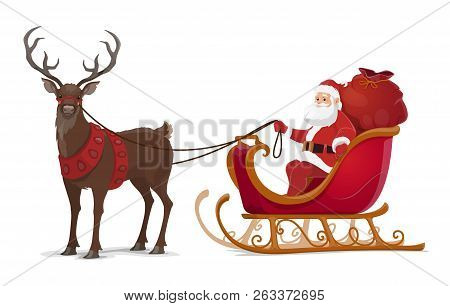 Santa Sleigh With Reindeer And Christmas Gifts. Xmas And New Year Winter Holidays Vector Design Of C