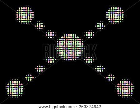 Dotted Links Collage Of Filled Circles In Light Shades On A Black Background. Vector Round Dots Are