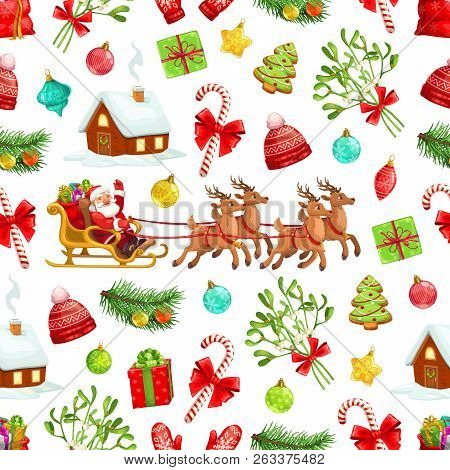 Christmas Holiday Seamless Pattern Background Of Santa Claus And Gifts In Reindeer Sleigh. Vector Xm