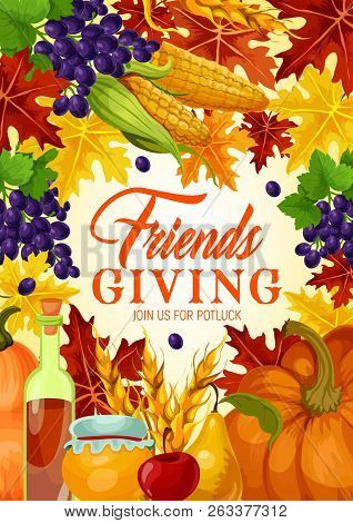 Friendsgiving Potluck And Thanksgiving Harvest Holiday Vector. Fallen Leaves With Orange Pumpkin And