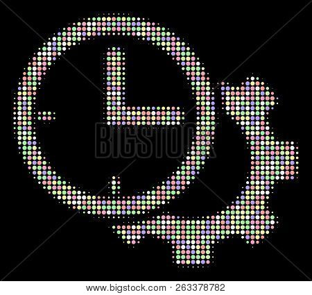 Time setup gear composition of circle elements in light color tints on a black background. Vector circle elements are united into halftone time setup gear composition. Light design concept. poster