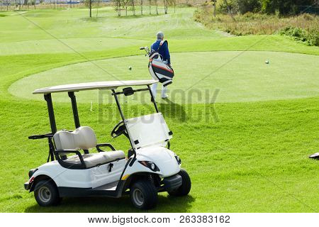 Golf car standing on green field and rear view of aged man with golf clubs walking to play