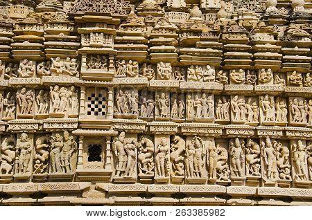 Parsvanath Temple, Wall Sculptures - Closeup, Eastern Group, Khajuraho, Madhya Pradesh, India, Unesc