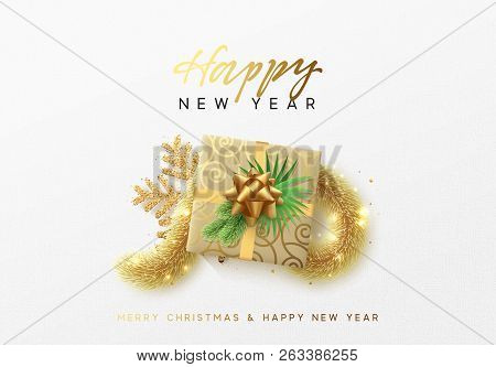 Merry Christmas Greeting Card. Xmas Holiday Background, Gift Box With Gold Tinsel And Bright Golden