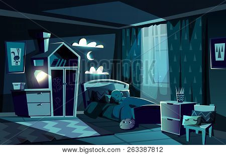 Lit By Moonlight Children Room With Little Boy Slipping In Cosy Bed With Nightlight Lamp On Cartoon