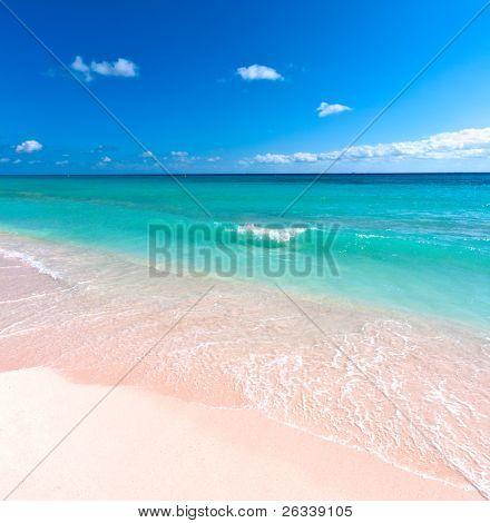Beautiful beach and  waves of Caribean Sea