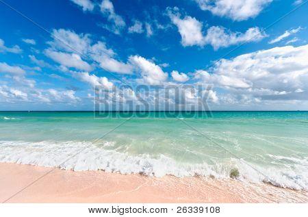 Beautiful beach and  waves of Caribean Sea. Riviera Maya, Mexico