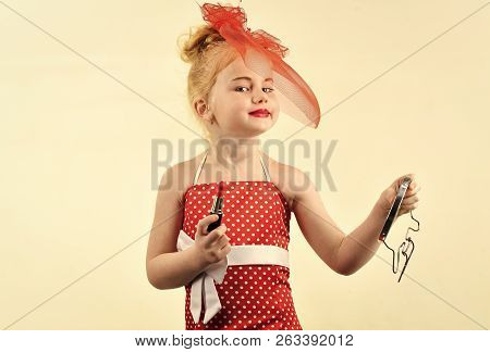 Makeup Retro Look And Hairdresser. Child Girl In Stylish Dress, Makeup. Retro Girl Fashion With Cosm