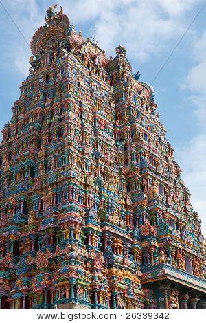 Hindu temple gopura (tower). Menakshi Temple, Madurai, Tamil Nadu, India poster