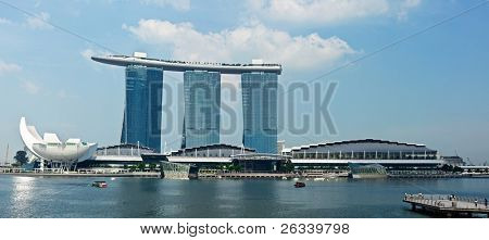 SINGAPORE-MAY 6: The Marina Bay Sands complex on May 6, 2011 in Singapore. Marina Bay Sands is an integrated resort and billed as the world's most expensive standalone casino property. Panorama image