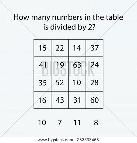 How Many Counting Game With Numbers Divided By 2 For Kids, Educational Maths Task For The Developmen