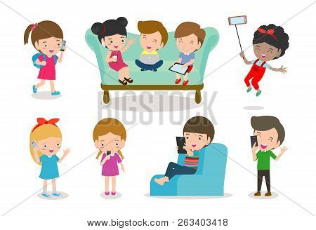 Kids With Gadgets, Kids Characters Boy And Girl With Mobile,children With Gadgets, Kid Tablet, Peopl