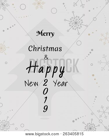 Merry Christmas And Happy New Year 2019 Celebration Card, Sketch