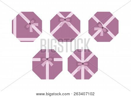 Violet Flat Present Boxs Concept Isolated On White Background. Vector Illustration.