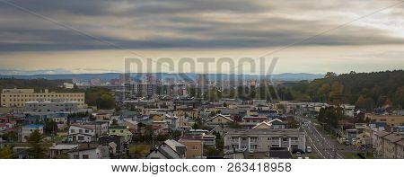panorama view of sapporo township hokkaido japan poster