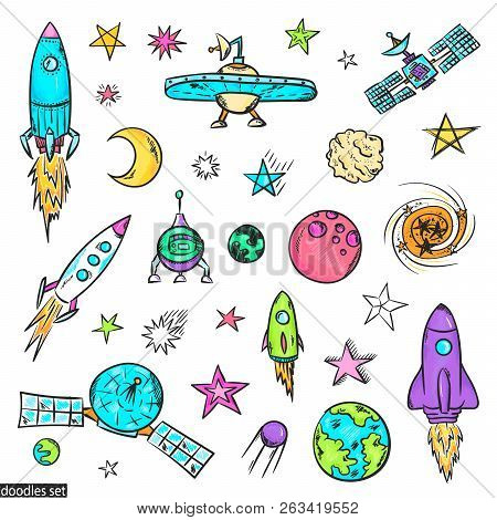 Space Doodles Set. Astronomy. Cosmic Sketches. Zodiac. Planets. Moon And Stars. Sun. Spaceship. Mete
