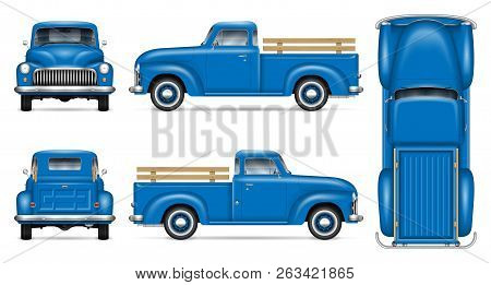 Classic Pickup Truck Vector Mockup On White Background. Isolated Blue Vintage Lorry View From Side,
