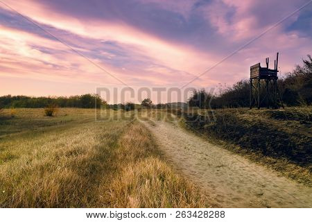 Sunset In Meadow Landscape. Fields And Countryside Landscape. Nature Landscape. Sunset In Meadow Lan