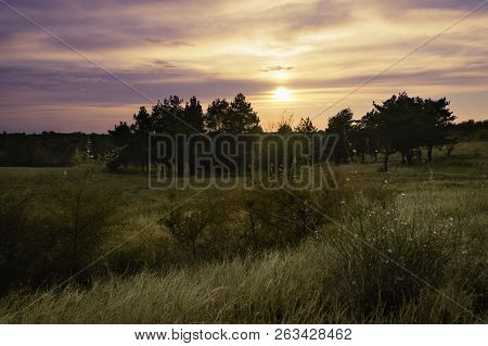 Sunset In Nature Landscape. Fields And Countryside Landscape. Nature Landscape. Sunset In Nature Lan